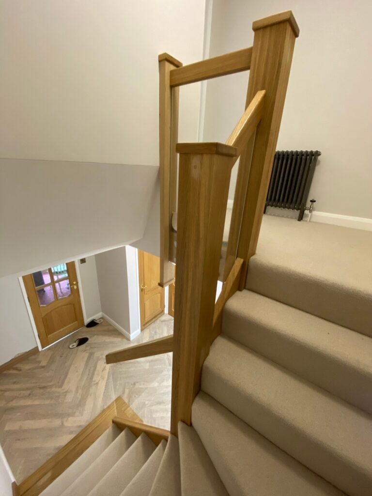 Oak and Glass Staircase - Marston, Bedfordshire © Oak Hill Joinery Ltd